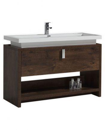 "Levi 48"" Rose Wood Modern Bathroom Vanity w/ Cubby Hole"
