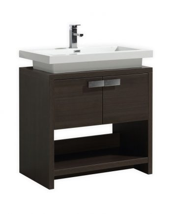 "Levi 32"" Gray Oak Modern Bathroom Vanity w/ Cubby Hole"