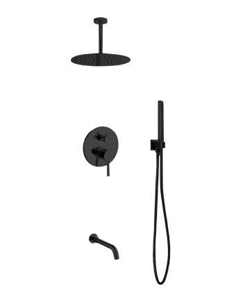 "Aqua Rondo Black Shower Set w/ Ceiling Mount 12"" Rain Shower, Handheld and Tub Filler"