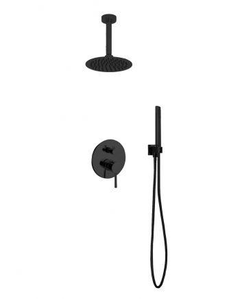 "Aqua Rondo Black Shower Shower Set w/ Ceiling Mount 8"" Rain Shower and Handheld"