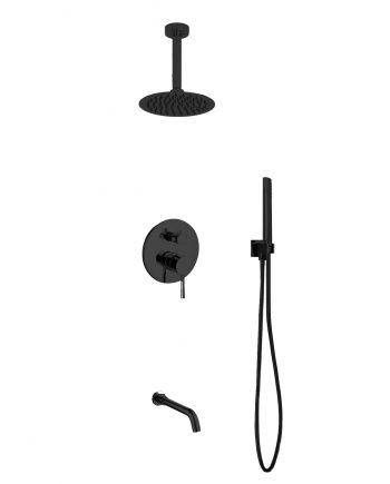 "Aqua Rondo Black Shower Set w/ Ceiling Mount 8"" Rain Shower, Handheld and Tub Filler"