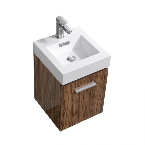 "Bliss 16"" Chestnut Wall Mount Modern Bathroom Vanity"