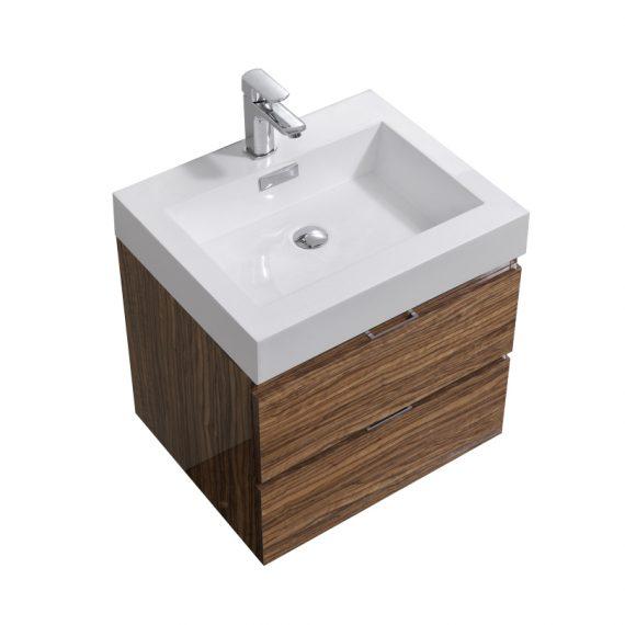 "Bliss 24"" Chestnut Wall Mount Modern Bathroom Vanity"