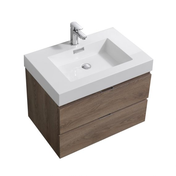 "Bliss 30"" Butternut Wall Mount Modern Bathroom Vanity"