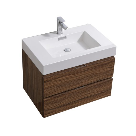 "Bliss 30"" Chestnut Wall Mount Modern Bathroom Vanity"