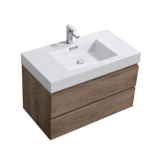 """Bliss 36"""" Butternut Wall Mount Modern Bathroom Vanity"""