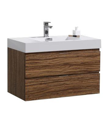 "Bliss 36"" Chestnut Wall Mount Modern Bathroom Vanity"