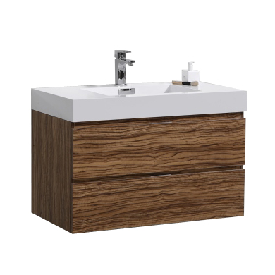 "Bliss 36"" Chestnut Wall Mount Modern Bathroom Vanity"