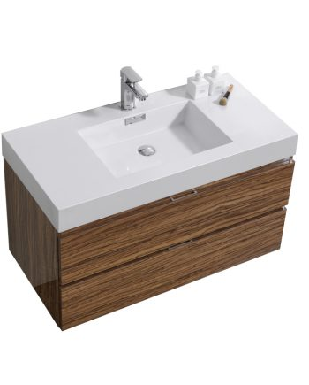"Bliss 40"" Chestnut Wall Mount Modern Bathroom Vanity"