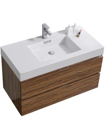 "Bliss 40"" Chestnut Wall Mount Modern Bathroom Vanity"