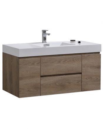 """Bliss 48"""" Butternut Wall Mount Single Sink Modern Bathroom Vanity"""