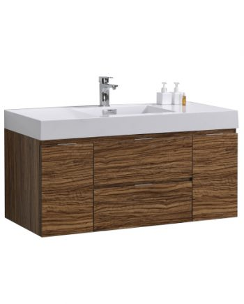 "Bliss 48"" Chestnut Wall Mount Single Sink Modern Bathroom Vanity"