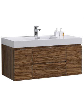 "Bliss 48"" Chestnut Wall Mount Single Sink Modern Bathroom Vanity"