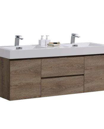 """Bliss 60"""" Butternut Wall Mount Double Sink Modern Bathroom Vanity"""