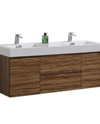 "Bliss 60"" Chestnut Wall Mount Double Sink Modern Bathroom Vanity"
