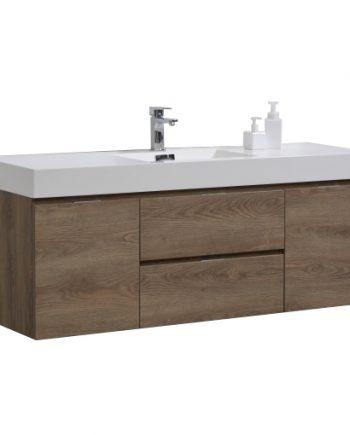 """Bliss 60"""" Butternut Wall Mount Single Sink Modern Bathroom Vanity"""