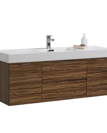 "Bliss 60"" Chestnut Wall Mount Single Sink Modern Bathroom Vanity"