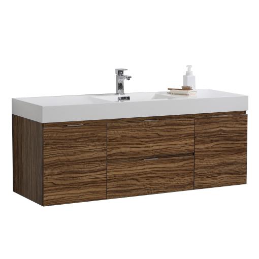 "Bliss 60"" Chestnut Wall Mount Single Sink Modern Bathroom Vanity"