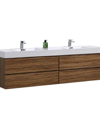 "Bliss 72"" Chestnut Wall Mount Double Sink Modern Bathroom Vanity"