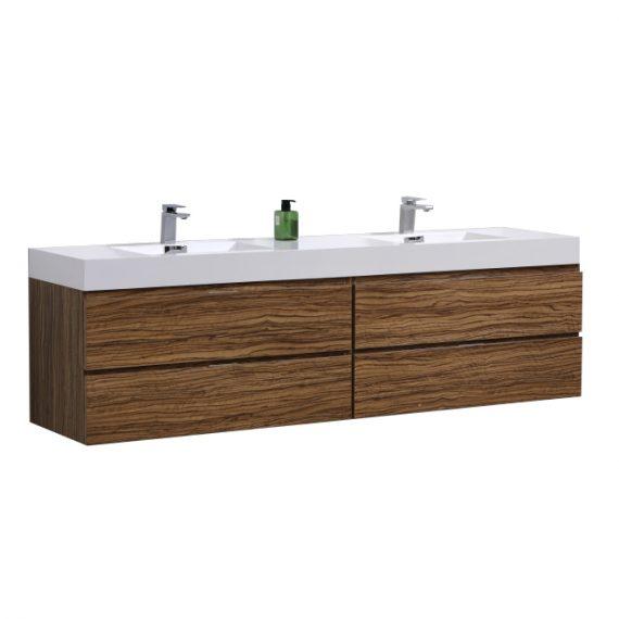"Bliss 72"" Chestnut Wall Mount Double Sink Modern Bathroom Vanity"