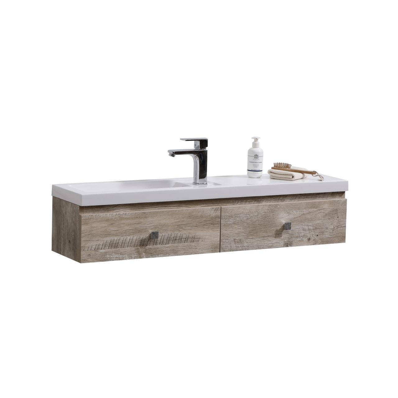 """kube elise 44"""" nature wood wall mount modern bathroom vanity"""
