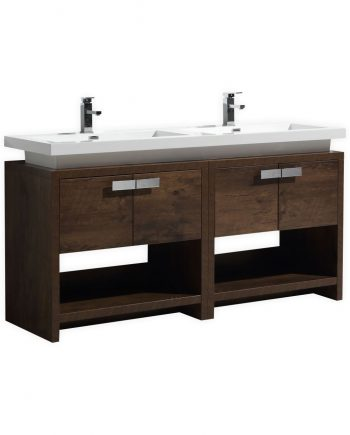 "Levi 63"" Rose Wood Modern Bathroom Vanity w/ Cubby Hole"
