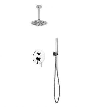 "Aqua Rondo Shower Set w/ Ceiling Mount 8"" Rain Shower and Handheld"