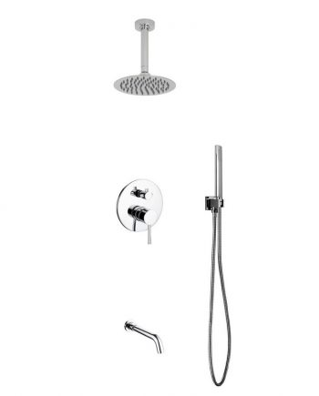"Aqua Rondo Shower Set w/ Ceiling Mount 8"" Rain Shower, Handheld and Tub Filler"