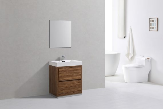 "Bliss 30"" Chestnut Free Standing Modern Bathroom Vanity"
