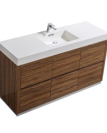 "Bliss 60"" Single Sink Chestnut Floor Mount Modern Bathroom Vanity"