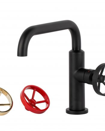Aqua Loft Single Lever Bathroom Vanity Faucet with Side Handle - Matte Black