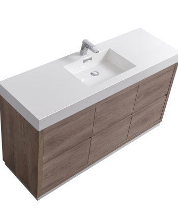 "Bliss 60"" Single Sink Butternut Floor Mount Modern Bathroom Vanity"