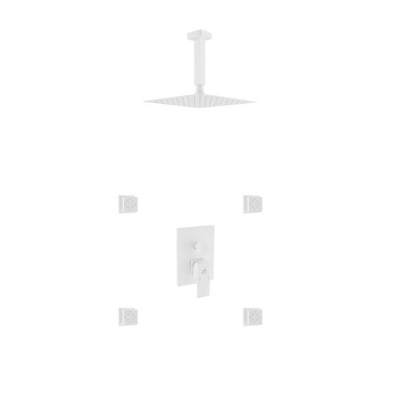"""Aqua Piazza White Shower Set w/ 8"""" Ceiling Mount Square Rain Shower and 4 Body Jets"""