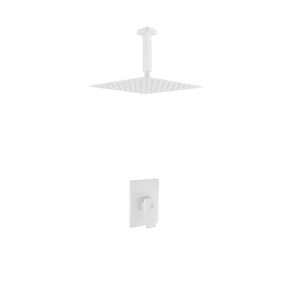 """Aqua Piazza White Shower Set w/ 12"""" Ceiling Mount Square Rain Shower and 4 Body Jets"""