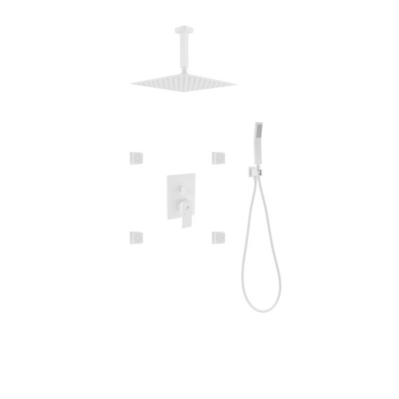 "Aqua Piazza White Shower Set w/ 8"" Square Rain Shower, 4 Body Jets and Handheld"