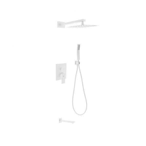 "Aqua Piazza White Shower Set w/ 8"" Square Rain Shower, Tub Filler and Handheld"